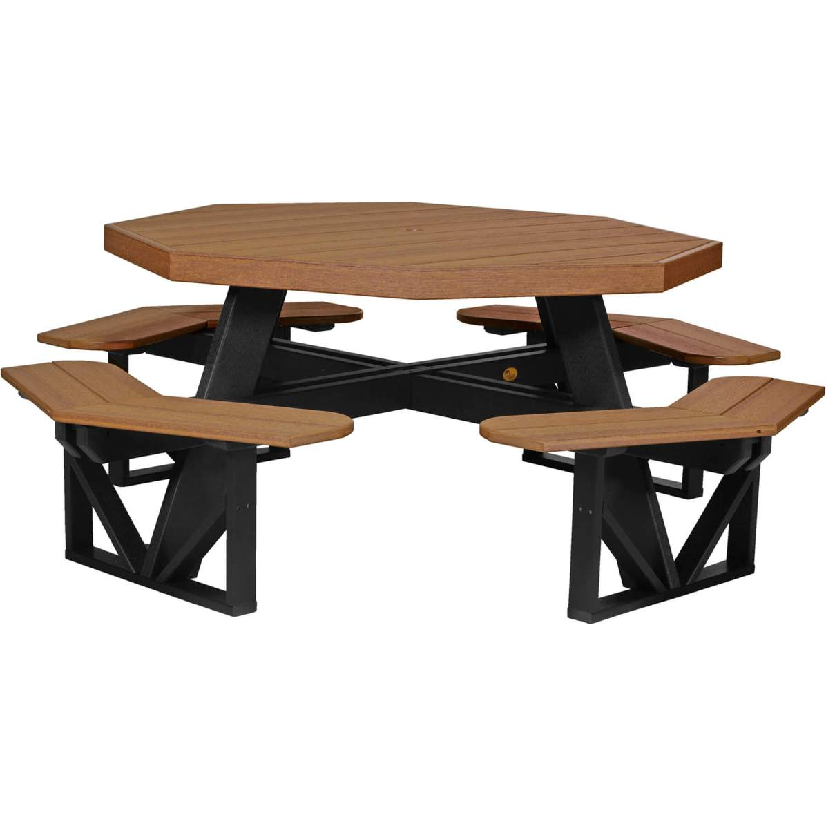 POPTAMB Poly Octagon Picnic Table (Antique Mahogany & Black)