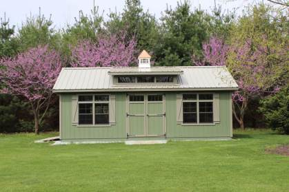 14x24 Garden Shed Pequea Green Clay trim