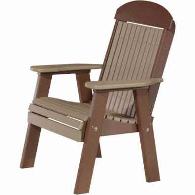 LuxCraft Poly 2' Classic Bench Weatherwood & Chestnut Brown