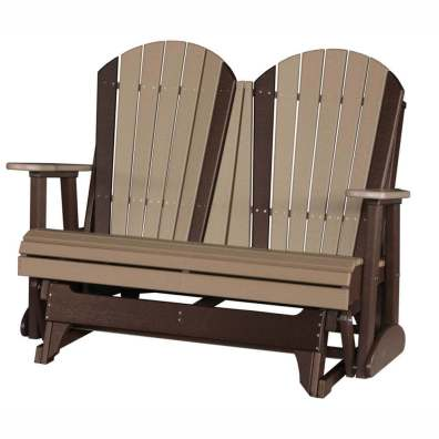 LuxCraft Poly 4' Adirondack Glider Weatherwood & Chestnut Brown