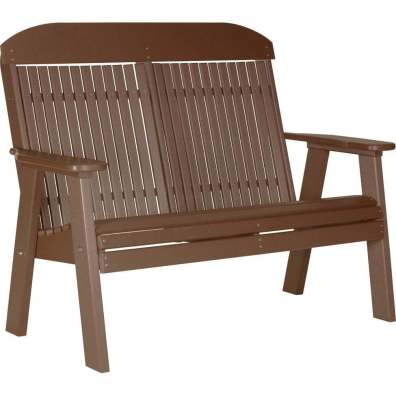 LuxCraft Poly 4' Classic Bench Chestnut Brown