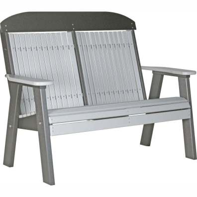 LuxCraft Poly 4' Classic Bench Dove Gray & Slate
