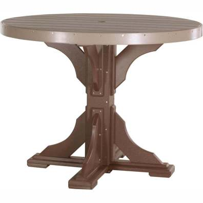 LuxCraft Poly 4' Round Table Counter Height Weatherwood & Chestnut Brown