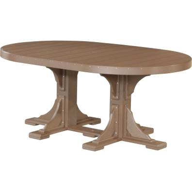LuxCraft Poly 4x6 Oval Table Chestnut Brown