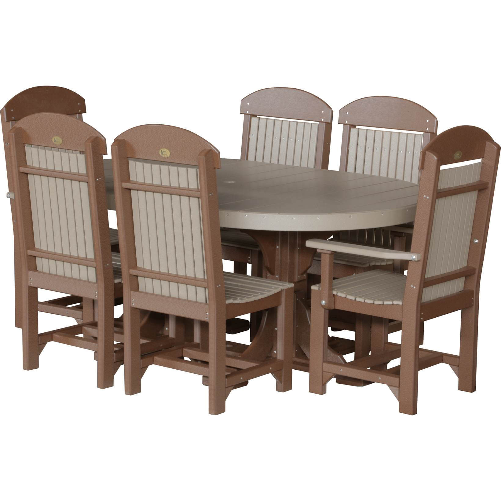 LuxCraft Poly 4x6 Oval Table Set #2 Weatherwood U0026 Chestnut Brown Dining  Height