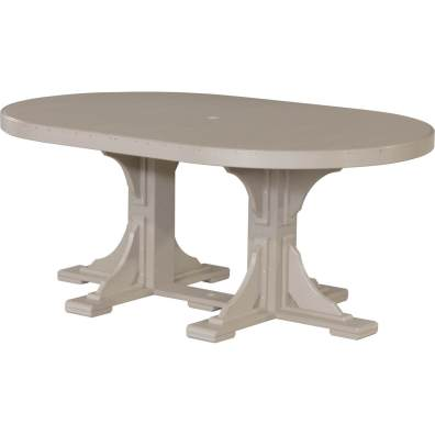 LuxCraft Poly 4x6 Oval Table Weatherwood