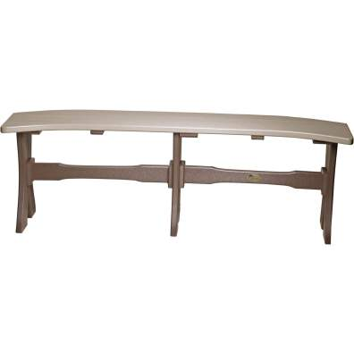 LuxCraft Poly 52'' Table Bench Weatherwood & Chestnut Brown