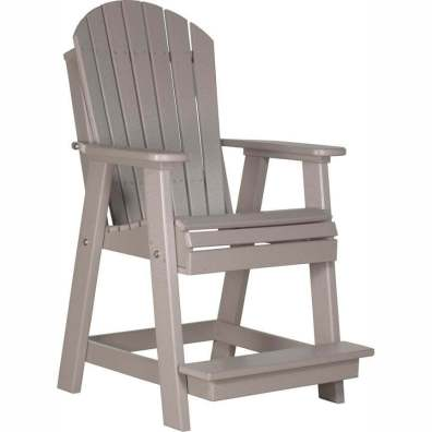 LuxCraft Poly Adirondack Balcony Chair Weatherwood