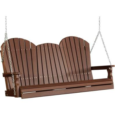 LuxCraft Poly 5' Adirondack Swing Chestnut Brown