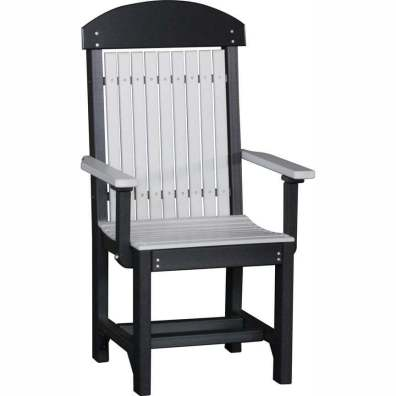LuxCraft Poly Captain's Chair Dining Height Dove Gray & Black