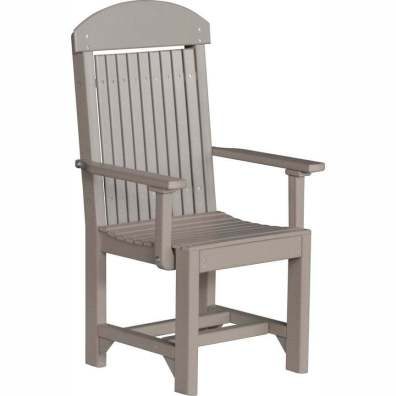 LuxCraft Poly Captain's Chair Dining Height Weatherwood