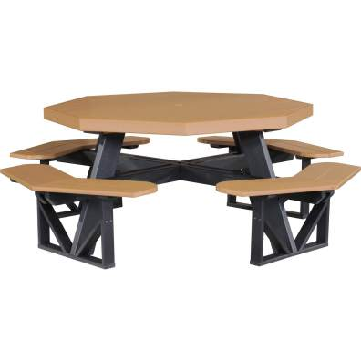 LuxCraft Poly Octagon Picnic Table Cedar & Black