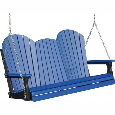LuxCraft Poly 5' Adirondack Swing Blue & Black