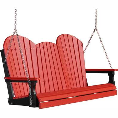 LuxCraft Poly 5' Adirondack Swing Red & Black