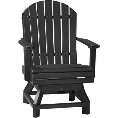 LuxCraft Poly Adirondack Swivel Chair (Dining Height) Black
