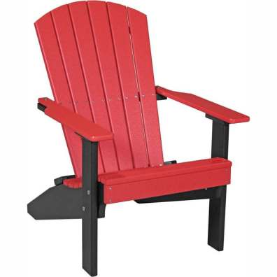 LuxCraft Poly Lakeside Adirondack Chair Red & Black