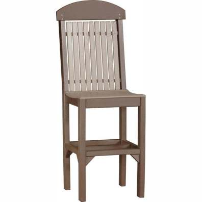 LuxCraft Poly Regular Chair (Bar Height) Weatherwood & Chestnut Brown