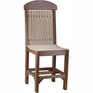 LuxCraft Poly Regular Chair (Counter Height) Weatherwood & Chestnut Brown
