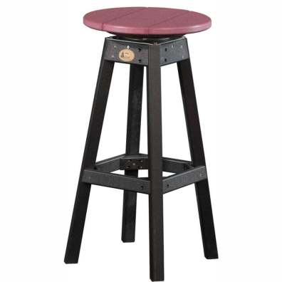 LuxCraft Poly Swivel Bar Stool Cherrywood & Black