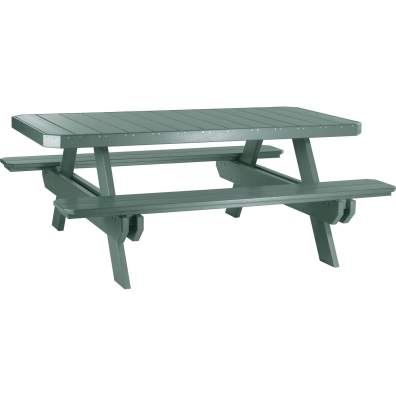 LuxCraft Poly 6' Rectangular Picnic Table Green