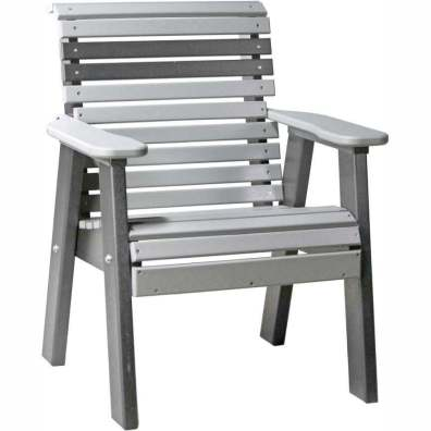 LuxCraft Poly 2' Plain Bench Dove Gray & Slate