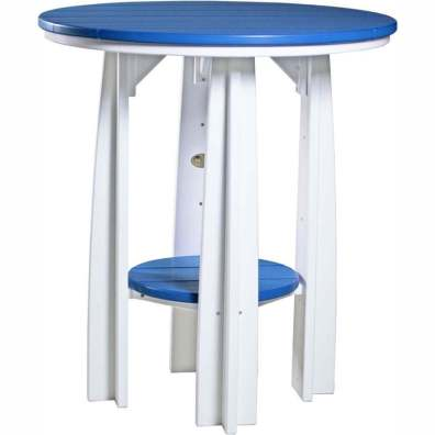 "LuxCraft Poly 36"" Balcony Table Blue & White"