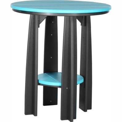 "LuxCraft Poly 36"" Balcony Table Aruba Blue & Black"