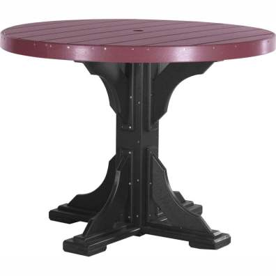 LuxCraft Poly 4' Round Table Counter Height Cherrywood & Black