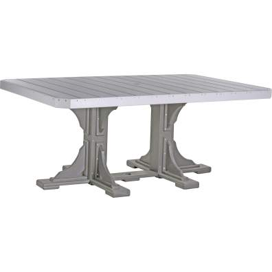 LuxCraft Poly 4x6 Rectangular Table Dove Gray & Slate