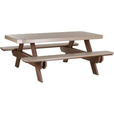 LuxCraft Poly 6' Rectangular Picnic Table Weatherwood & Chestnut Brown
