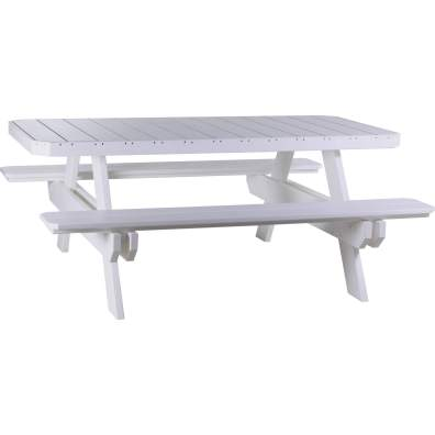 LuxCraft Poly 6' Rectangular Picnic Table White