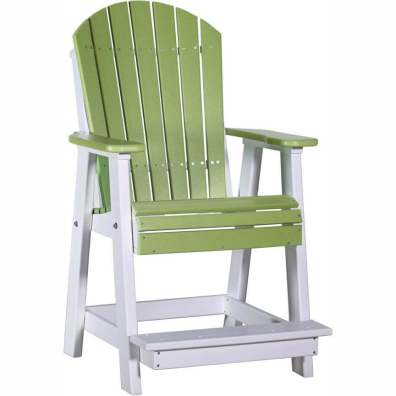 LuxCraft Poly Adirondack Balcony Chair Lime Green & White