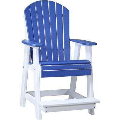 LuxCraft Poly Adirondack Balcony Chair Blue & White