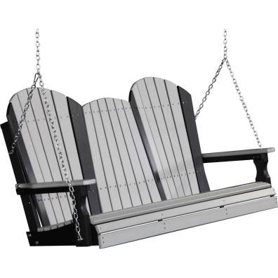 LuxCraft Poly 5' Adirondack Swing Dove Gray & Black