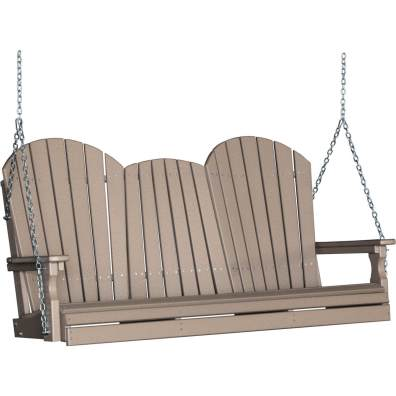 LuxCraft Poly 5' Adirondack Swing Weatherwood