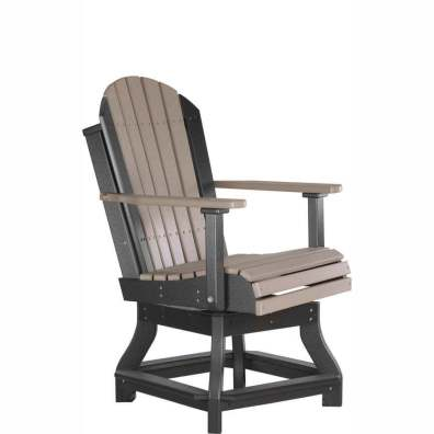 LuxCraft Poly Adirondack Swivel Chair Dining Height Weatherwood & Black