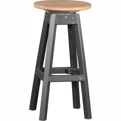 LuxCraft Poly Swivel Bar Stool Cedar & Black