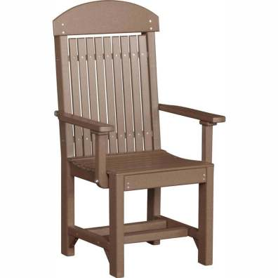LuxCraft Poly Captain's Chair Dining Height Chestnut Brown