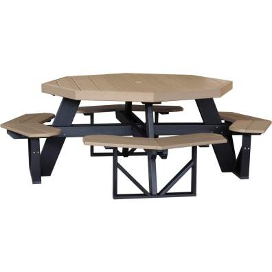 LuxCraft Poly Octagon Picnic Table Weatherwood & Black