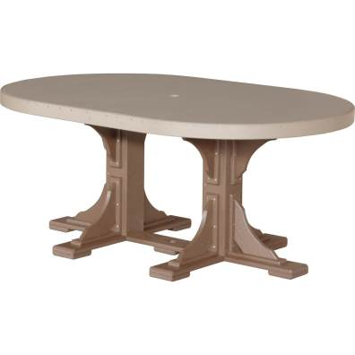 LuxCraft Poly 4x6 Oval Table Weatherwood & Chestnut Brown