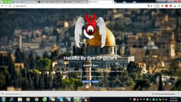 Giao diện trang web đại học Quy Nhơn bị hacker thay đổi. (Ảnh: Đào Trường Ngộ)