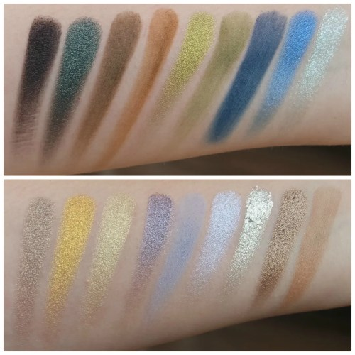 elf earth ocean earth & ocean eyeshadow palette review swatch makeup look 3 looks 1 palette fair skin