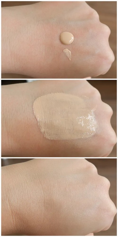 Essence pretty natural foundation review swatch application 020 neutral alabaster fair skin dry skin
