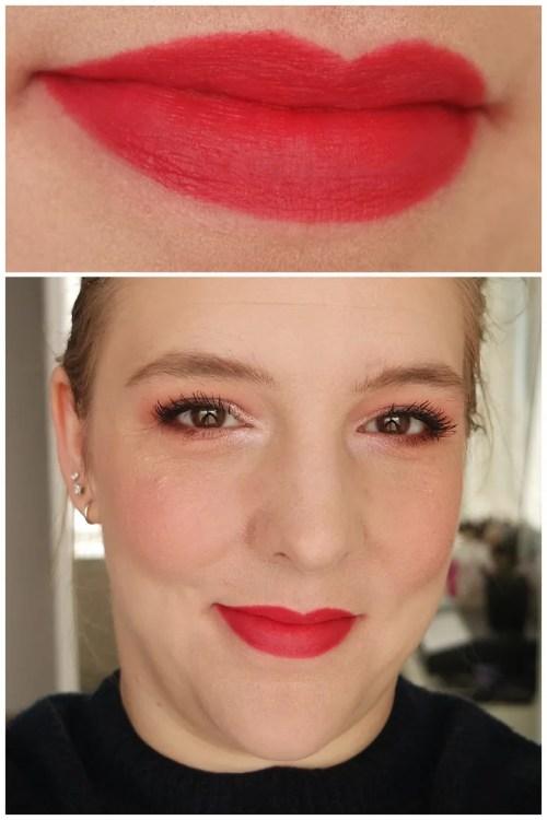 mac powder kiss lipstick lasting passion review swatch makeup look application fair skin