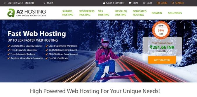 A2 Hosting best WordPress hosting for India