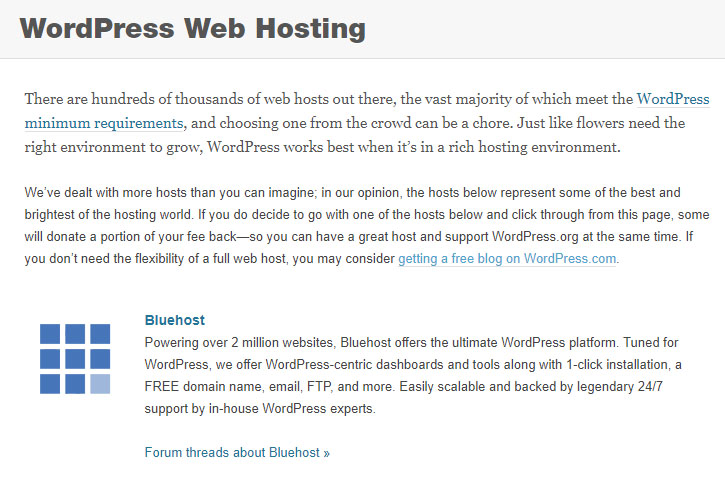 WordPress.org Web Hosting Recommendation