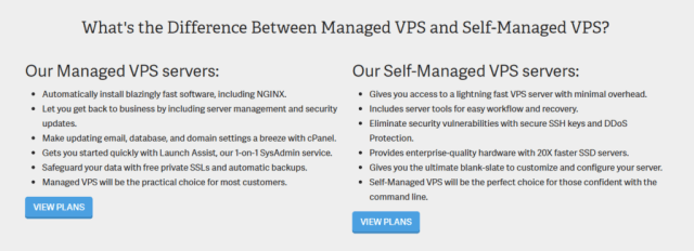 Inmotion managed and self-managed servers