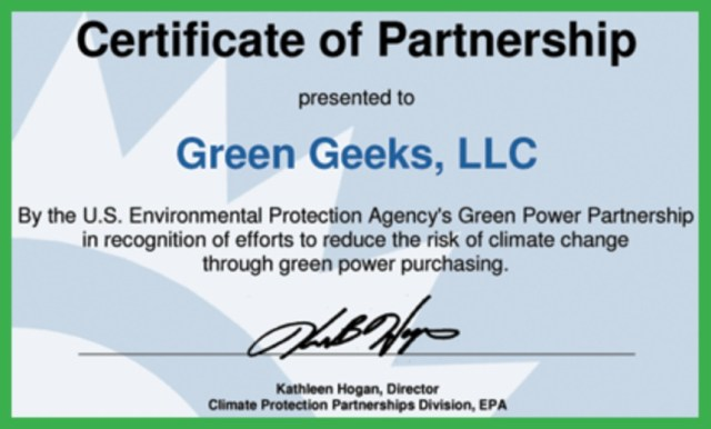 GreenGeeks certificate