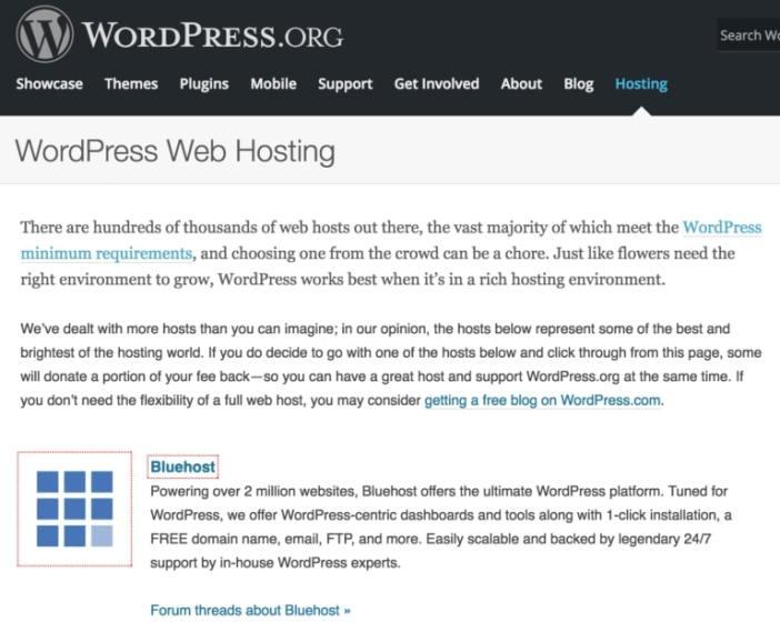WP.org recomienda Bluehost