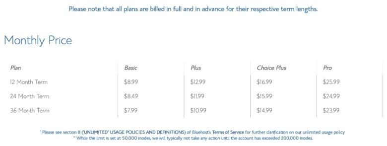 Prezzi per il rinnovo di Bluehost